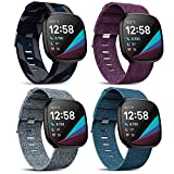 Mocodi 4 Pack Fabric Bands Compatible with Fitbit Sense/Versa 3,Breathable Woven Fabric Strap Adjustable Replacement Wristband Accessories Women Men for Fitbit Sense/Versa 3 SmartWatch