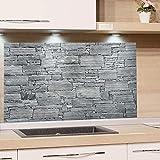 GRAZDesign Küchenrückwand Steinoptik Grau - Spritzschutz Glas Küche - für Herd und Spüle - Eyecatcher - Edles Glas / 100x60cm