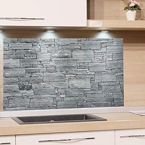 GRAZDesign Küchenrückwand Steinoptik Grau - Spritzschutz Glas Küche - für Herd und Spüle - Eyecatcher - Edles Glas / 80x60cm