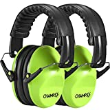 Kids Ear Muffs 2 Pack, Champs Baby Earmuff Noise Protection Reduction Headphones for Toddlers Kid Children Teen NRR 25dB Safety Hearing Ear Muff Shooting Range Hunting Season [Green]