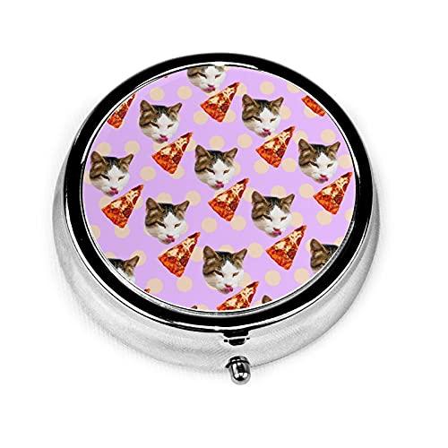 Cat Pizza Lover Custom Fashion Silver Round Pill Box Medicine Tablet Holder Wallet Organizer Case For Pocket Or Purse Vitamin Organizer Holder Decorative Box