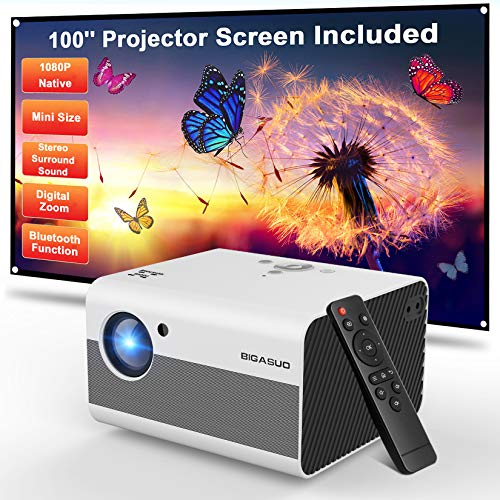 Mini Projector, BIGASUO 2021 Native 1080P Projector Bluetooth Support, 7000L Portable Projector with Digital Zoom&HiFi Stereo, Movie Projector Compatible TV Stick,HDMI,USB [100''Screen Included]. Buy it now for 189.89