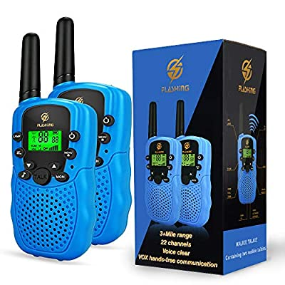 Dreamingbox Outdoor Toys for Boys 8-12 Year Old, Long Range Walkie Talkies with LCD Flashlight for Boy for Outdoor Hiking Explorer Gifts for 3-12 Year Old Boys Blue TGUSSDDJ02