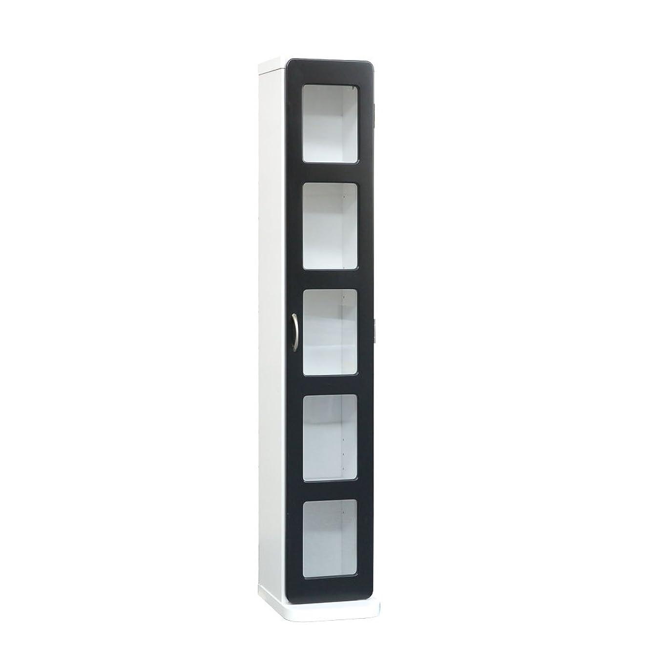 ヒュームインセンティブ関税ぼん家具 コミック収納棚 書棚 本棚 CD収納 シェルフ ディスプレイ ガラス 5段タイプ ブラック