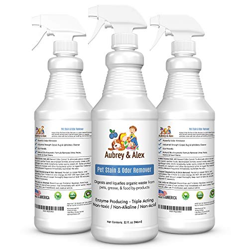 Best Pet Stain & Odor Remover | Industrial Strength Neutralizes & Eliminates Dog, Cat, & Animal Urine and Feces Smells on Carpets, Furniture | Non-Toxic | Miracle Enzyme Bacterial Digestor 3 x32 oz