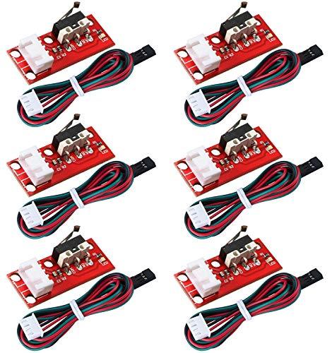 WJMY 6 Stück Mechanischer Endschalter 3D Drucker Endstop mit LED Indikator und Kabel für 3D-Drucker z. B.MPCNC,RAMPS 1.4,CNC 3018 Pro,Arduino Mega 2560 1280,Makerbot Prusa Mendel RepRap