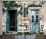 ABAKUHAUS Rústico Cortinas, Las Puertas de la Antigua Casa de la Roca, Sala de Estar Dormitorio Cortinas Ventana Set de Dos Paños, 280 x 175 cm, Teal Gris