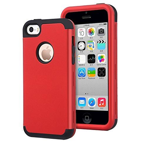 Dailylux iPhone 5C Funda,Carcasa iPhone 5c Funda iPhone 5c híbrido de Alto Impacto de Silicona Suave y Cubierta de la Caja Dura de la PC para iPhone 5C -Rojo + Negro