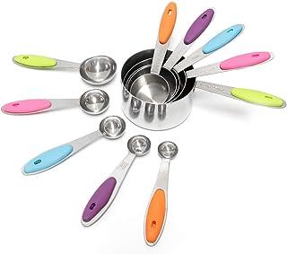 Signstek Cuillère Doseuses en Acier Inoxydable, Tasse à Mesurer avec Poignée en silicone, Cuillère à Mesurer pour Cuisiner...