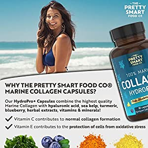 Powerful Marine Collagen Tablets - Boosted with Hyaluronic Acid, Biotin & Blueberry - 1400MG Complex - Hydrolysed Type 1 - with Vitamin C, E, B2, B7 & Minerals - 90 Capsules