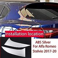2本のABSリアテールゲートトライアングルプレートカバーアルファロメオステルビオ2017-2020用 (Silver ABS)