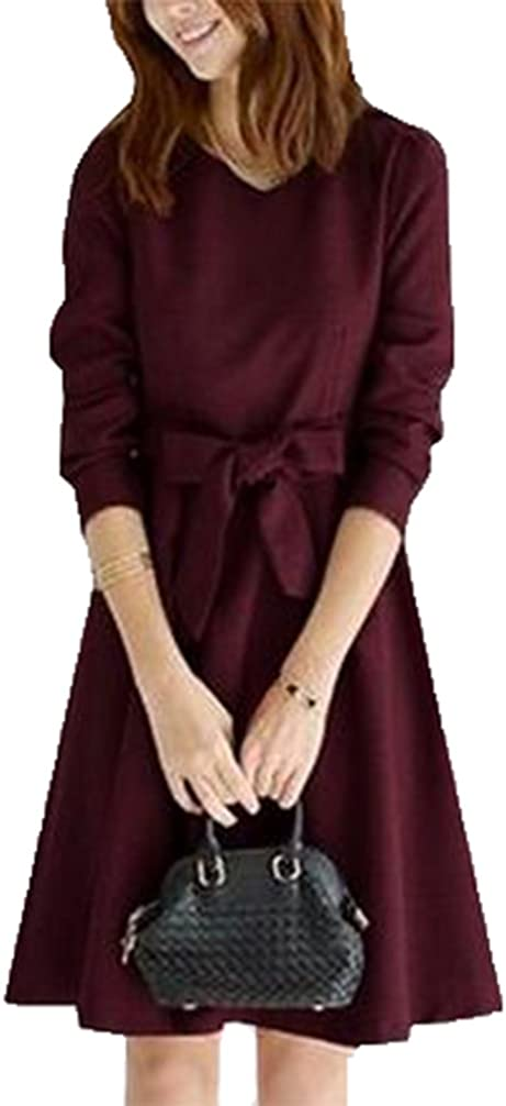 Spring Autumn Women's Long-sleeved Free shipping anywhere in the nation Dress Bow Dresses waist OFFicial mail order Slim