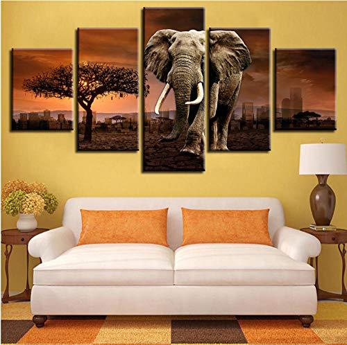 lglays Póster modular ure lienzo de pared 5 piezas Elefante Animales Árboles Puesta de sol Paisaje Pintura HD Impresiones Marco Decoración Moderna Habitación - 40x60cmx2,40x80cmx2,40x100cmx1