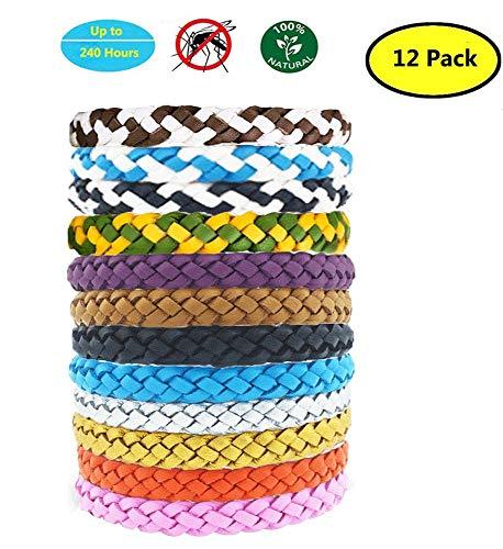 Yithings Mückenschutz Armband 12 Pack im Freien wasserdichte Insekt Leder abweisende Armbänder mit natürlichen Pflanzenölen für Kinder und Erwachsene für Camping Hiking.No Deet (12pack)