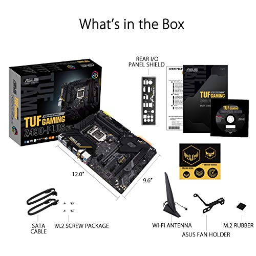 ASUS TUF Gaming Z490-Plus (Wi-Fi) Mainboard LGA 1200 (ATX, Intel Z490, WiFi 6, USB 3.2 Gen2, Thunderbolt-3, M.2-Kühler ,Aura Sync)