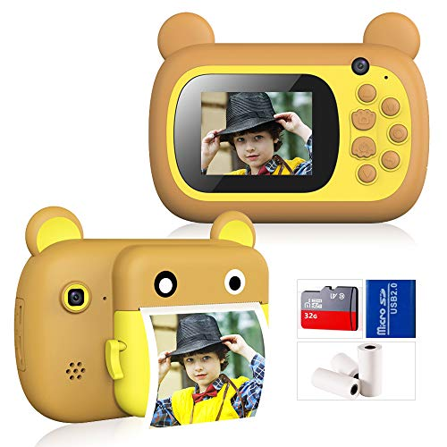 Cámara instantánea para niños, cámara de juguete para niños, regalo de 10 segundos de presión, 2400 W píxeles 1080P HD de 2,4 pulgadas, cámara para niños, autorretrato 4X Zoom (32GSD) con
