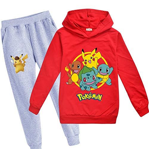Proxiceen Pikachu Pokemon - Sudadera con capucha y pantalón para niño y niña, impresión digital 3D, diseño de anime Cosplay A3. 160 cm