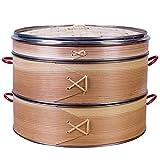 Vaporizador de bambu, cesto de vaporizador de alimentos chinês, pão de bambu, cesto de vapor, bolinhos e vegetais, panela de alimentos, 2 camadas e tampa