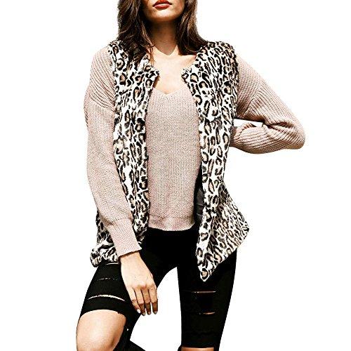 OIKAY Damen Cardigan Jacke Leopard Faux Pelz Weste Weste Gilet Mantel Parka Outwear Mäntel(Mehrfarbig,EU-42/3XL)