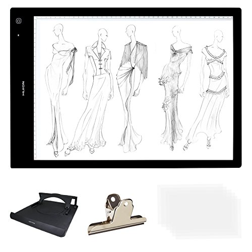HUION A3 Size Lightness Adjustable Built-In Battery USB Cable Drawing Tracing Stencil Board Tattoo Light Box with Kenting Stander, Clip, 6 Pcs of Tracing Paper, Cleaning Cloth
