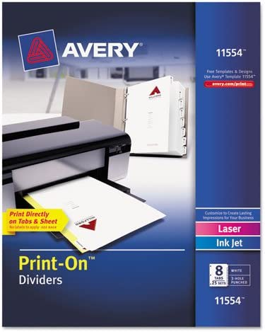 Avery - Print-On Dividers 8-Tab 3-Hole 11 Wh Superlatite 2 wholesale 8-1 x Punched