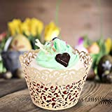 Cupcake Wrapper, Lace Cake Cup, Baking Cup Cake Carrier, Hollow Paper DIY Fondant Cake Decoration for Weddings, Birthdays, Party, Christmas 50 Pieces (Ivory White)