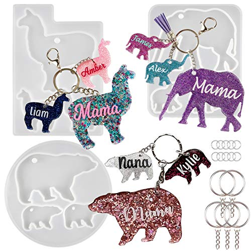 Keychain Charms Epoxy Resin Silicone Molds Mom and Baby Tag Llama Bear Elephant with Key Chain Rings Kit 18-Bundle Set