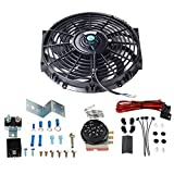 12' Slim Push Pull 12V Electric Radiator Cooling Fan with Adjustable Electric 12V Radiator Fan Thermostat Control Relay Wire Kit For Car Truck