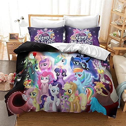 Funda Nordica My Little Pony 180X200 Cm Microfibra Suave Cómodo Ropa De Cama Único Fundas Nordicas Juveniles con Funda Almohada para Adultos Y Infantil