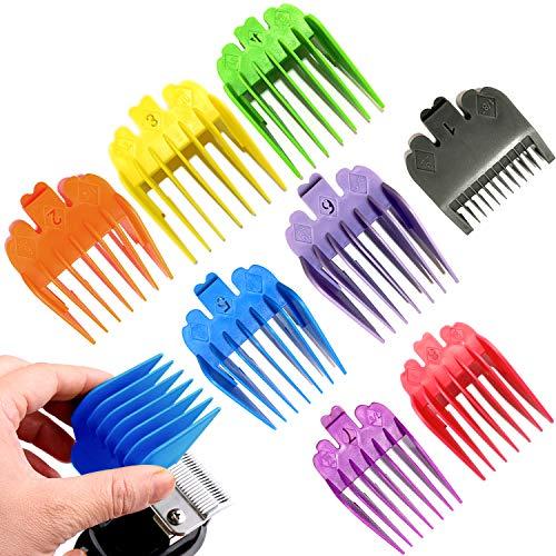 """8 recortadores de cabello profesionales de color/cortadoras codificadas con clipper Guías/peines 1/8 """"a 1 -Gran ajustes para todos los cortadores/recortadores Wahl de tamaño completo"""