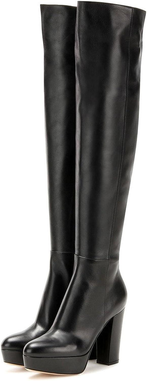 Nancy Jayjii NJPU Women Chunky Heel Over The Knee High Black Stretch Platform Boots with Zippers