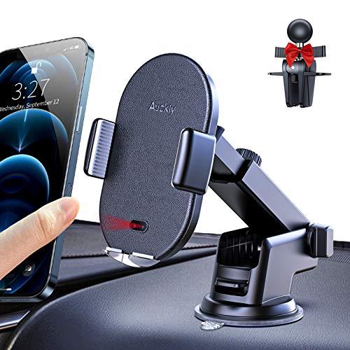 Auckly Wireless Charger Auto,Qi Ladestation Auto 3 in 1 Qi HandyHalterung Auto Wireless Automatisch Induktions Lüftung KFZ Handy Halterung Für iPhone 12/Pro/Max/Mini 11 XR/X/XS Max/8Plus S20/S10/S9/8