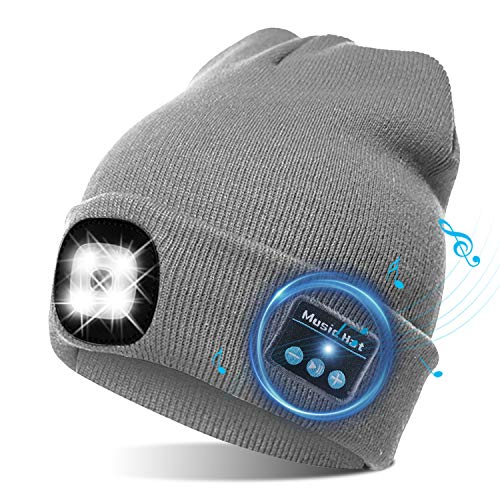 TAGVO USB Bluetooth Music Hat LED Beanie Cap, Lighting & Flashing Modes, Built-in Stereo Speaker and Mic, Headlamp Headphone Beanie, Unisex Winter Warm Knit Cap for Sports Outdoors