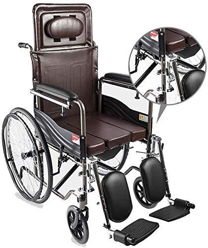 CHAIR Silla de ruedas, silla de rehabilitación médica para personas mayores, personas mayores, liviana y amigable Silla de ruedas, escritorio Largos brazos y reposapiés elevables para mayor comodidad