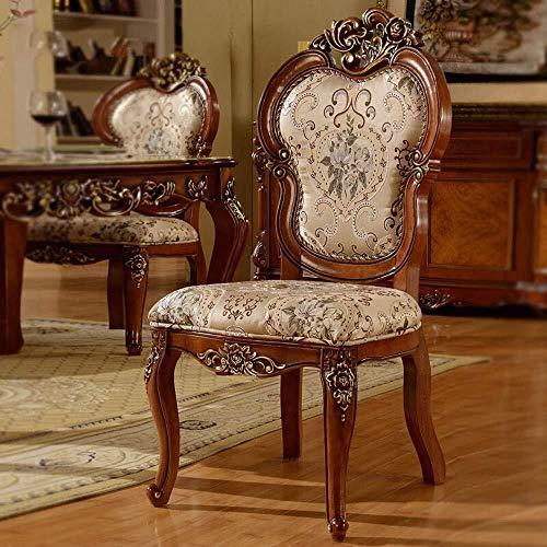 DXX-HR Tallados a mano de dos sillas de comedor asiento de tela Apoyabrazos Drawn superficie de la hoja de estar espesado Adaptado restaurantes Familia de restaurante Salón (Color: Marrón, Tamaño: 52x