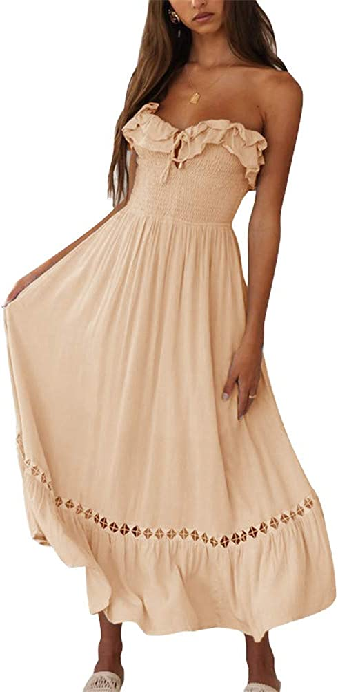 SAUKOLE Women's Summer Sleeveless Strapless Ruffle Off The Shoulder Swing Cocktail Party Dress