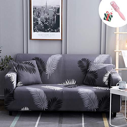 Universal Estiramiento Funda Sofá de 1 2 3 4 plazas, Morbuy Linea de Moda Imprimiendo Sofá Cubre Furniture Protector Antideslizante Elastic Soft Sofa Couch Cover (3 plazas,Hoja Negra)