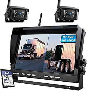 $299 » ZEROXCLUB 10'' 1080P Wireless Backup Camera System with DVR, 10 Inch Monitor Dual/Quad Wireless Rear View Cameras for RV/T...