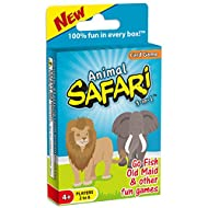 Animal Safari 3-in-1 Classic Card Game for Kids (GO Fish and Old Maid) / 3 Classic Kids Games in One Deck Featuring Adorable Safari Animals