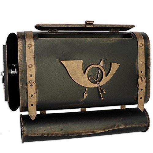 Briefkasten POSTHORN I Antik Look Kupfer Bronze Silber Tasche Ranzen Postkasten alte Ledertasche Schulranzen: Design: SG-L Schwarz-Gold Links