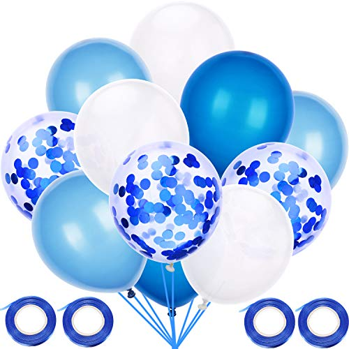 60 Stücke Einfarbig Latex Ballons Party Dekorative Ballons mit 4 Rollen Bänder für Baby Dusche Party Hochzeit Geburtstag Dekoration (Hellblau, Dunkelblau, Weiß)