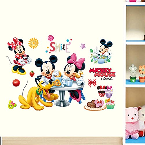 OUJINKUAJING Pegatinas de pared de dibujos animados para Mickey y Minnie para habitación de los niños, habitación de los niños, sala de estar, póster de decoración mural