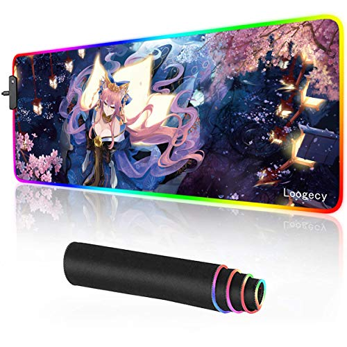 Anime LED Mouse Pad Extended Large RGB Gaming Mousepad Desk Mat for PC Laptop 31.5×11.8 inches