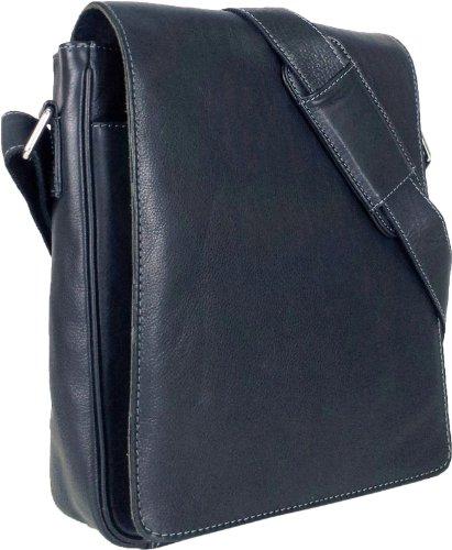UNICORN Vera Pelle ipad, Ebook o Tablets Borsa Nero Messenger Bag #1E
