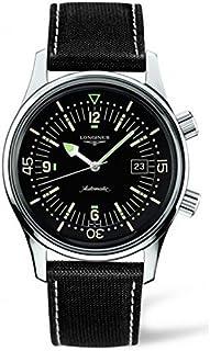 69a14b13849c0 Longines Heritage Homme 42mm Automatique Noir Cuir Bracelet Montre L36744500