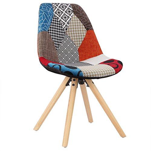 WOLTU® BH52mf-1 1Stück Esszimmerstuhl mit Sitzfläche aus Leinen Design Stuhl Küchenstuhl Holz Patchwork Mehrfarbig