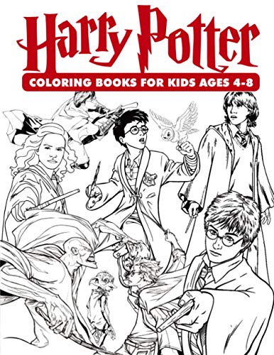"Harry Potter Coloring Books For Kids Ages 4-8: 35 illustrations Great Coloring Book for Adults, Teenagers, Tweens, Older Kids, Boys, Girls, Toddlers, Kids, 8.5"" x 11"" (Unofficial)"