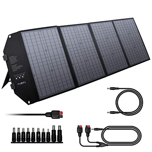 powkey 100W Solar Panel Charger 12-18V with Type-C, USB C, 2*QC3.0, DC output, Monocrystalline Parallelable Solar Panel, for Most Power Station, Camping, Mobile Phone and Laptop