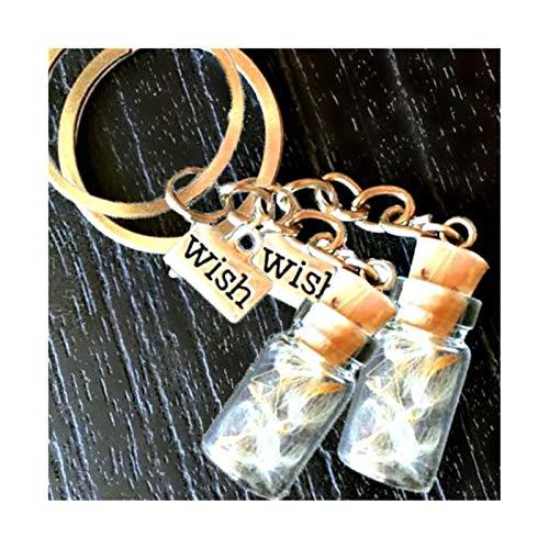 CNZXCO amulett zum, personalisierte geschenke, 2 stücke Getrocknete Blumensamen, Löwenzahn, Wish, Keychain, Ermutigen Sie Schlüsselanhänger, ich werde immer bei Ihnen, das beste Freund Geschenk für Fr