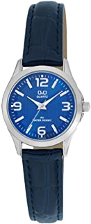 Q&Q Women's Blue Dial Leather Band Watch - C193J345Y